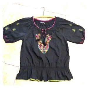 Embroidered Boho style peasant top for ladies.